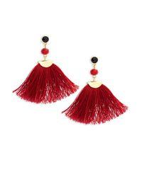 Shashi | Red Melanie Gold, Beaded & Tassel Drop Earrings | Lyst