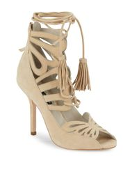Alice + Olivia | Natural Natalie Open-toe Leather Stilettos | Lyst