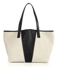 VINCE   Black Modern V Leather Tote Bag   Lyst