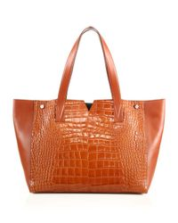 VINCE | Multicolor Signature V Crocodile-embossed Leather & Smooth Leather Tote | Lyst