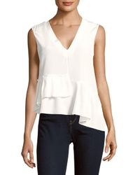 Tibi | White Sleeveless Ruffle-trim Silk Top | Lyst