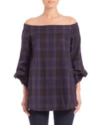 Tibi - Multicolor Plaid Off-the-shoulder Tunic - Lyst