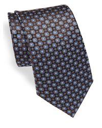 Canali   Blue Medallion Woven Silk Tie for Men   Lyst