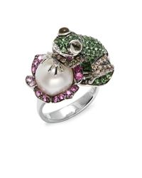 Effy | Diamond Espresso Diamond 11mm Freshwater Pearl Pink Sapphire Tsavorite Lemon Quartz & 14k White Gold Ring | Lyst