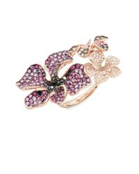 Effy | Black Diamond, Brown Diamond, Pink Sapphire, Ruby & 14k Rose Gold Leafy Double-ring | Lyst