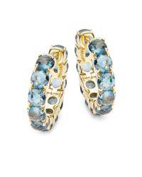 Ippolita - Metallic 18k Lollipop® London Blue Topaz & 18k Yellow Gold Hoop Earrings- 0.87in - Lyst