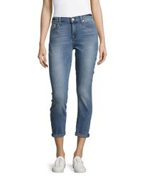 7 For All Mankind | Blue Five-pocket Rolled-cuff Cropped Jeans | Lyst