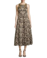 Marchesa | Metallic Jewelneck Embroidered Dress | Lyst