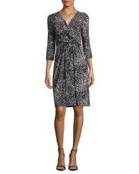 Lafayette 148 New York | Black Printed Three-fourth-sleeve Dress | Lyst
