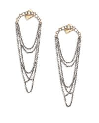 Alexis Bittar | Metallic Crystal-encrusted Draped Fringe Drop Earrings | Lyst