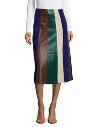 Derek Lam   Blue Leather Patchwork Skirt   Lyst