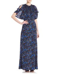 Yigal Azrouël - Blue Printed Cold-shoulder Gown - Lyst