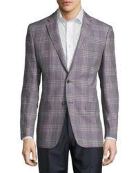 Versace | Purple Wool-blend Plaid Jacket for Men | Lyst