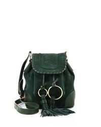 Chloé Green Small Polly Suede Bucket Mini Bag