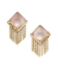 Alexis Bittar - Gray Lucite & Crystal Pyramid Spear Fringe Clip-on Earrings - Lyst