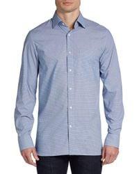 Hickey Freeman - Blue Small Check Cotton Sportshirt for Men - Lyst