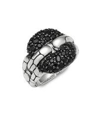 John Hardy | Metallic Black Sapphire & Sterling Silver Square Link Ring | Lyst