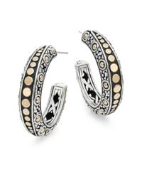 John Hardy | Metallic Dot 18k Yellow Gold & Sterling Silver Gypsy Hoop Earrings | Lyst