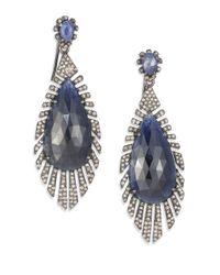 Bavna - Blue Diamond, Sapphire & Sterling Silver Drop Earrings - Lyst