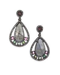 Bavna - Metallic Diamond, Labradorite, Tourmaline & Sterling Silver Drop Earrings - Lyst