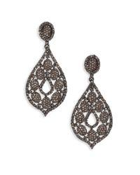 Bavna - Multicolor 6.63 Tcw Diamond & Sterling Silver Pear Drop Earrings - Lyst