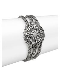 John Hardy | Metallic Dot Sterling Silver Medallion Three-row Chain Bracelet | Lyst
