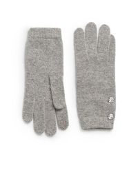 Saks Fifth Avenue Black - Gray Woolblend Crystal Button Gloves - Lyst