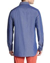 Corneliani - Blue Cotton/linen Chambray Sportshirt for Men - Lyst