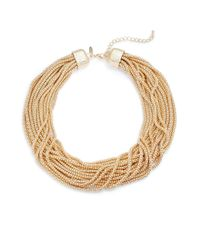 Natasha Couture - Metallic Lobster Clasp Strand Necklace - Lyst