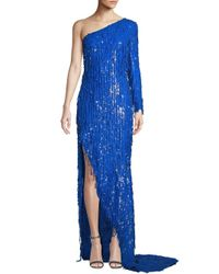 Moschino Blue One-shoulder Sequin Gown
