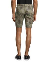 Slate & Stone Green Novelty Ross Tropical-print Cotton Cargo Shorts for men