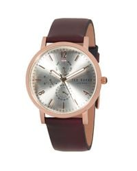 Ted Baker Metallic Multifunction Stainless Steel & Leather-strap Watch