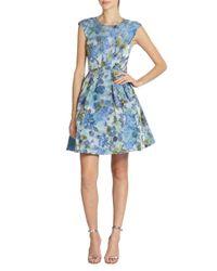ABS By Allen Schwartz - Blue Floral-print Party Dress - Lyst