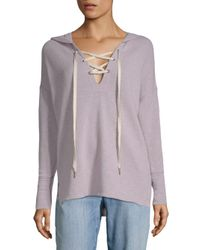 Project Social T Purple Lace-up Hi-lo Hooded Sweater