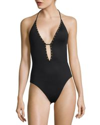 La Blanca Black One-piece Studded Swimsuit