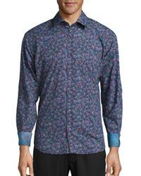 Bugatchi Blue Printed Woven Cotton Shirt for men