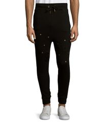 Standard Issue Black Distressed Cotton Jogger Pants for men