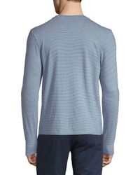 Ben Sherman - Blue Fine Stripe Cotton Henley for Men - Lyst