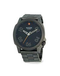Nixon Metallic Gunmetal-tone Stainless Steel Bracelet Watch for men