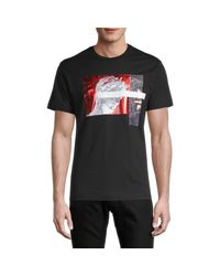 Versace Jeans Black Graphic Cotton Tee for men