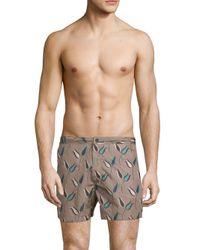 Valentino Gray Printed Swim Shorts for men