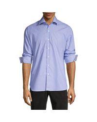 Zanella Blue Reggio Pinstripe Cotton Sport Shirt for men