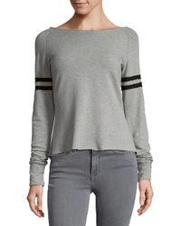 R + R Surplus Gray Boatneck Varsity Sweatshirt