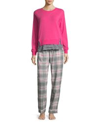 Jane And Bleecker - Gray Graphic Long Sleeve Pajamas - Lyst