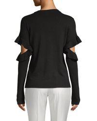 Saks Fifth Avenue Black Ruffled Long-sleeve Sweater