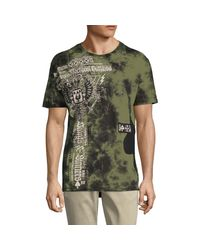 Affliction Green Logo Graphic Tie-dyed Cotton Tee for men