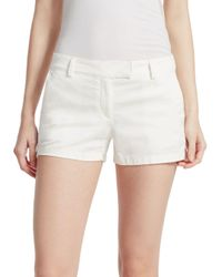 Theory White Bennie Cotton Shorts