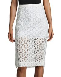 MILLY White Floral Embroidered Midi Skirt