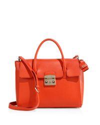 Furla Orange Metropolis Leather Satchel