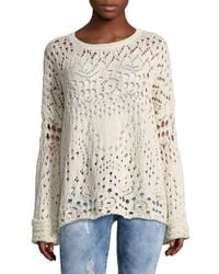 Free People White Womens Lace Cotton Long Sleeves Sweater